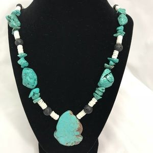 """Jewelry - Turquoise Chunky w/Coral &Lava Beads Necklace 22"""""""